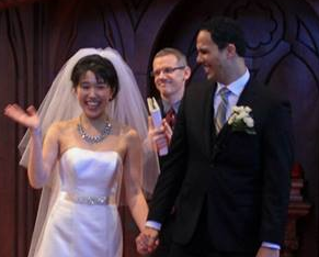 Bryan with Mike & Youna, just after pronouncing them husband & wife